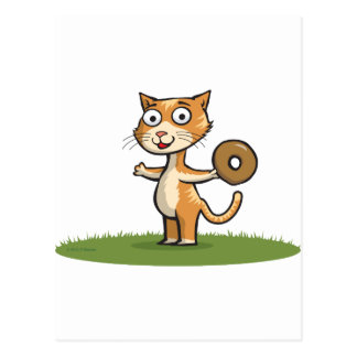 Cat with Donut Postcard