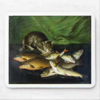 Cat with Fish Artwork Mouse Pad