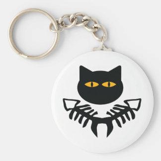 cat with fish bone icon basic round button keychain