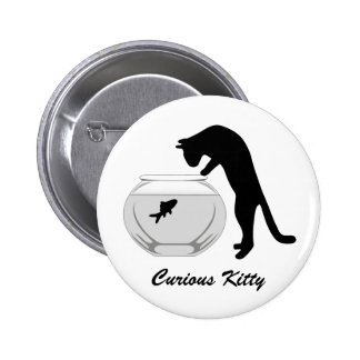 Cat with Fish Bowl Button
