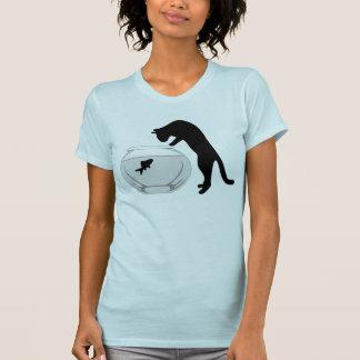 Cat with Fish Bowl Ladies Shirt- Baby Blue T-Shirt