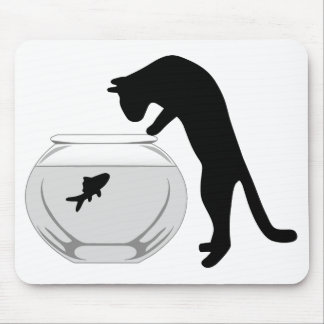 Cat with Fish Bowl Mousepad