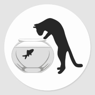 Cat with Fish Bowl Sticker