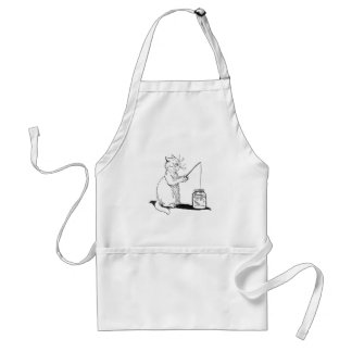 Cat with Fishing Rod Apron