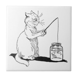 Cat with Fishing Rod Ceramic Tile