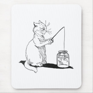 Cat with Fishing Rod Mouse Pad