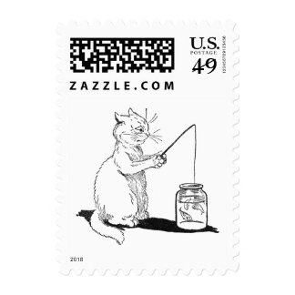 Cat with Fishing Rod Postage