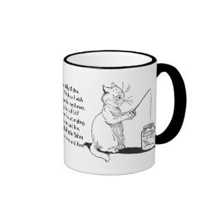 Cat with Fishing Rod Ringer Mug