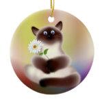 Cat With Flower Ceramic Ornament