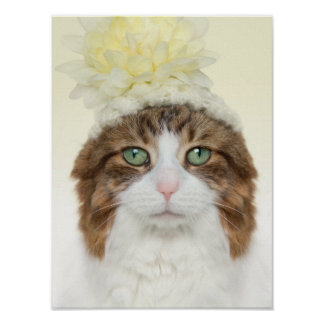Cat With Flower Hat Poster