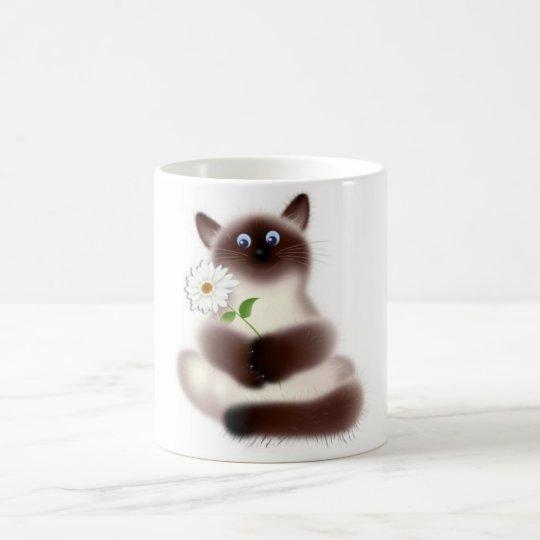 Cat With Flower Mug