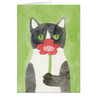 Cat with Flower Note Card