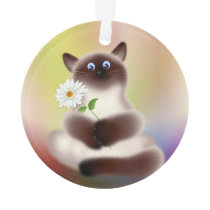 Cat with Flower Ornament