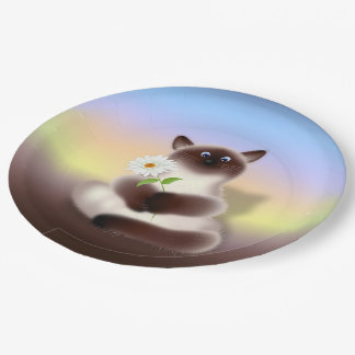 Cat with Flower Paper Plate