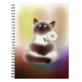 Cat with Flower Spiral Note Books