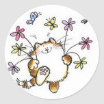 Cat with flowers classic round sticker