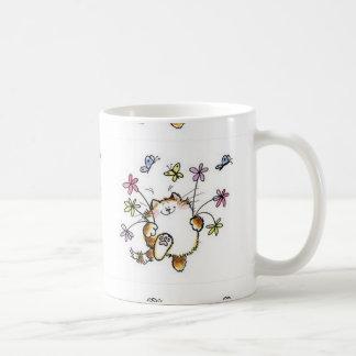 Cat with flowers coffee mug