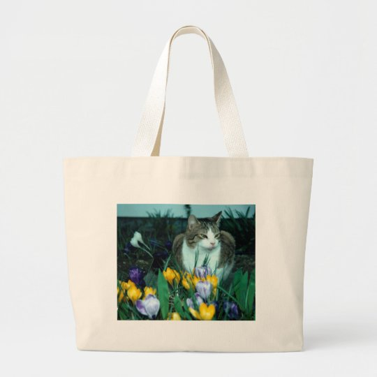 Cat with Flowers Tote Bag