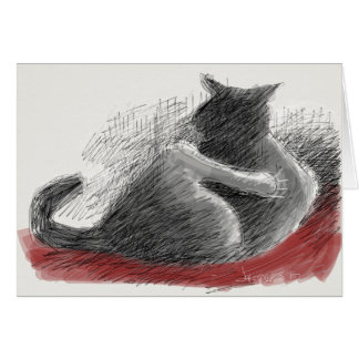 cat with foot held up card