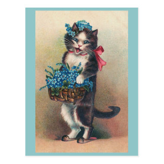 """Cat with Forget-me-Nots 2"" Vintage Postcard"