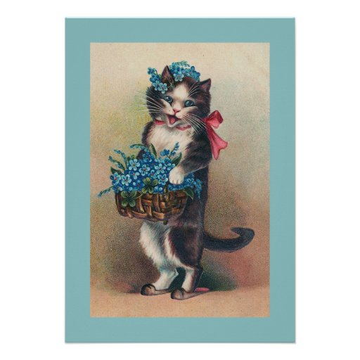 """""""Cat with Forget-me-Nots 2"""" Vintage Poster"""