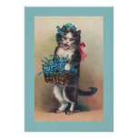 """""""Cat with Forget-me-Nots 2"""" Vintage Print"""