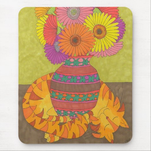 Cat with Gerbera Daisies in Talavera Vase Mouse Pad