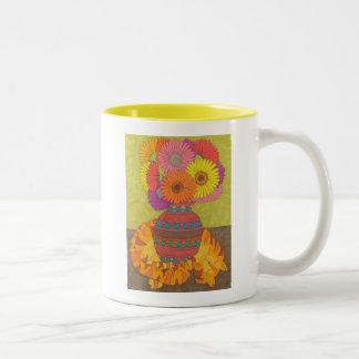 Cat with Gerbera Daisies in Talavera Vase Coffee Mugs