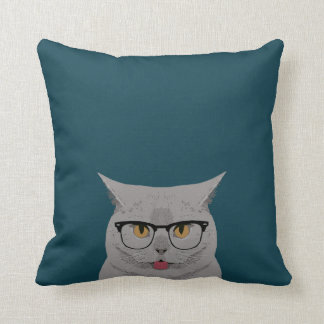 Cat with Glasses - British Shorthair Cute Cat Gift Throw Pillow