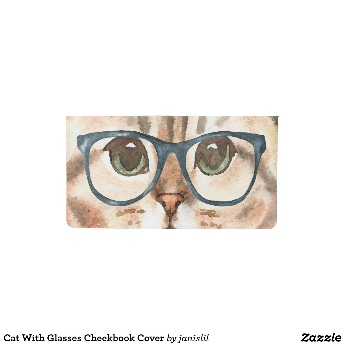 Cat With Glasses Checkbook Cover