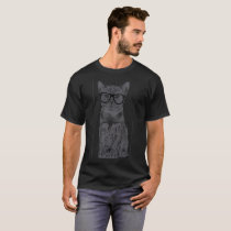Cat With Glasses Funny Animal Humor Pet Lover Cute T-Shirt