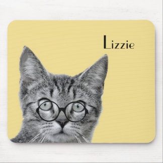 Cat with Glasses on Yellow Mousepad