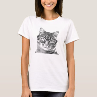 Cat with glasses t shirts for women