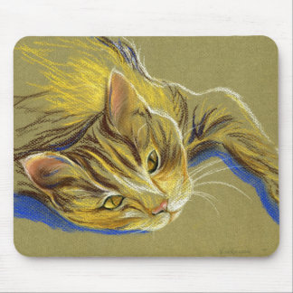 Cat with Gold Eyes - Pastel Drawing Mouse Pad