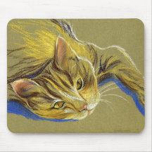 Cat with Gold Eyes - Pastel Drawing Mousepad