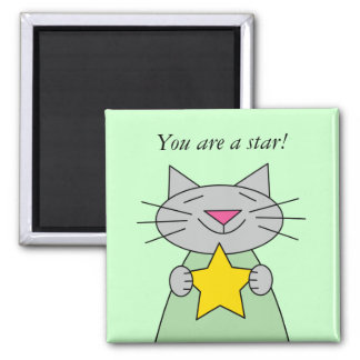 Cat with Gold Star Award 2 Inch Square Magnet