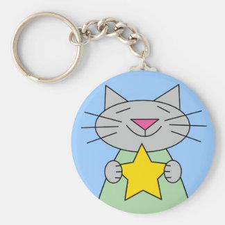 Cat with Gold Star Award Basic Round Button Keychain