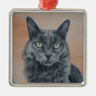 Cat with Green Eyes Christmas Ornament