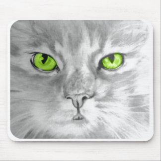 Cat with green eyes mousepad art by Carol Zeock