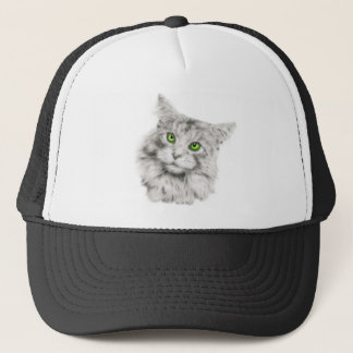 Cat with green eyes trucker hat