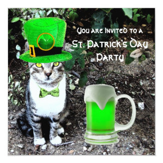 CAT WITH GREEN IRISH BEER ST PATRICK'S DAY PARTY CARD