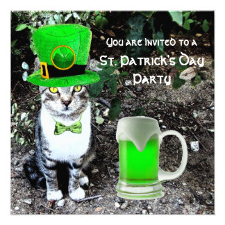 CAT WITH GREEN IRISH BEER ST PATRICK'S DAY PARTY PERSONALIZED ANNOUNCEMENTS