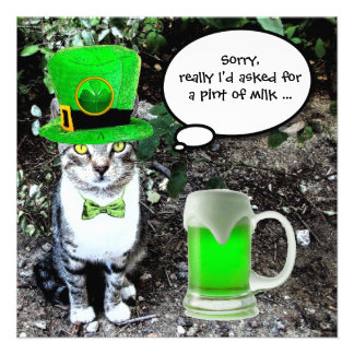 CAT WITH GREEN IRISH BEER ST PATRICK'S DAY PARTY ANNOUNCEMENT