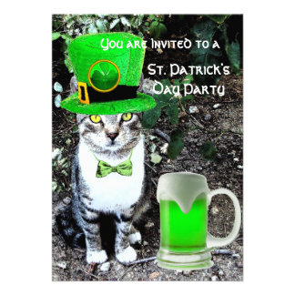 CAT WITH GREEN IRISH BEER ST PATRICK'S DAY PARTY CUSTOM ANNOUNCEMENT