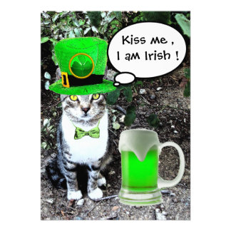 CAT WITH GREEN IRISH BEER ST PATRICK'S DAY PARTY PERSONALIZED ANNOUNCEMENT