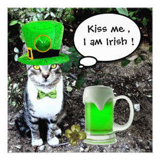 CAT WITH GREEN IRISH BEER ST PATRICK'S DAY PARTY CUSTOM INVITES