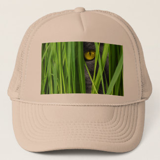 Cat with Green Leaf and Special Eyes Trucker Hat