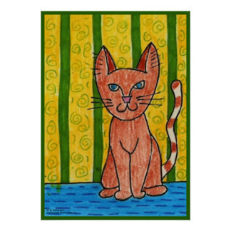 Cat with Green Stripes Huge Poster