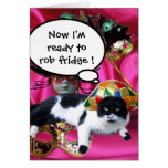 CAT WITH HARLEQUIN HAT AND MASQUERADE PARTY MASKS GREETING CARD