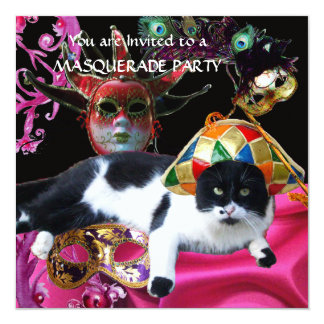 CAT WITH HARLEQUIN HAT AND MASQUERADE PARTY MASKS CARD